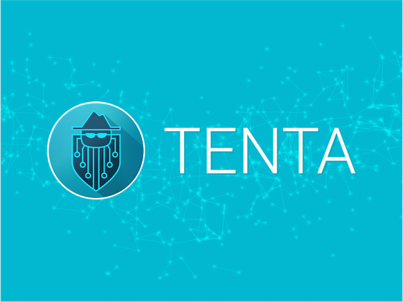 Tenta Logo Standard on Dark Blue Node Background Horizontal